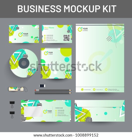 Branding Mockup set, Corporate identity mockup set includes of letterhead, envelope, cd cover and visiting card.