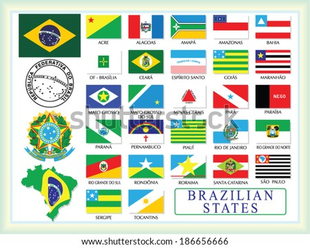 Brasil.Brazil symbols and states flags. - stock vector