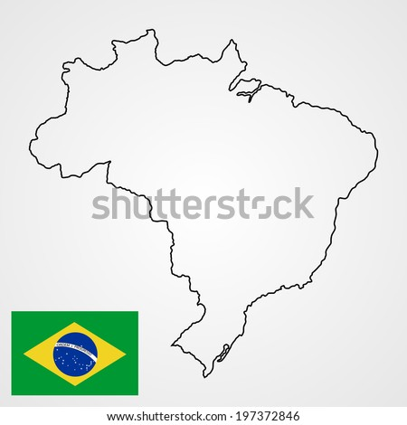 Brasil high detailed vector map and flag isolated on white background. Silhouette illustration. - stock vector