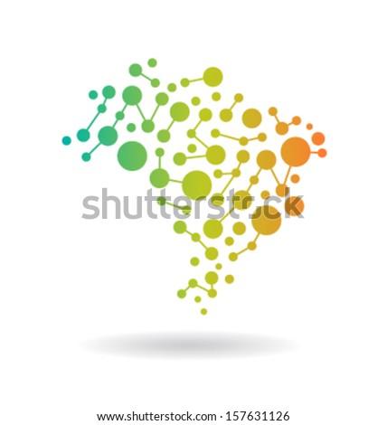 Brasil Networking Map Vector  - stock vector
