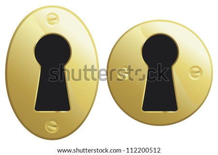 Brass keyholes in oval and circular versions. - stock vector