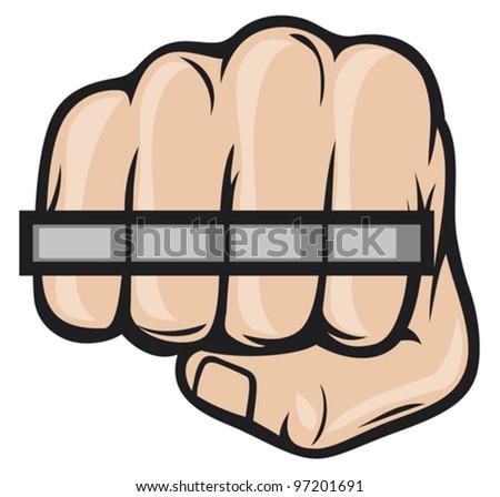 brass knuckle fist - stock vector