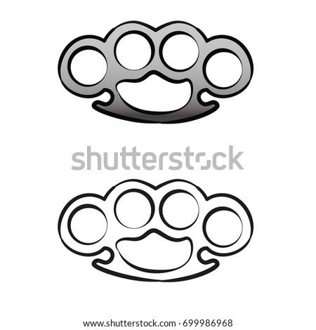 brass knuckles vintage retro style design stock vector 699986968 shutterstock. Black Bedroom Furniture Sets. Home Design Ideas