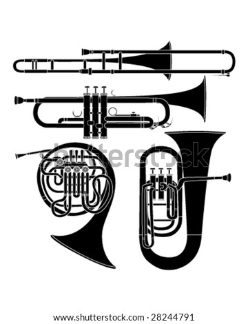 Brass musical instruments set in detailed vector silhouette - stock vector