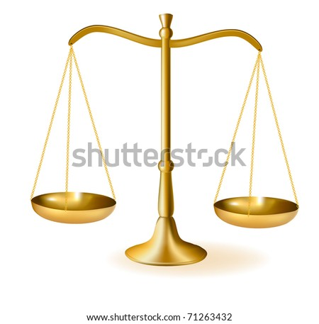 Brass scales of justice. Vector illustration.