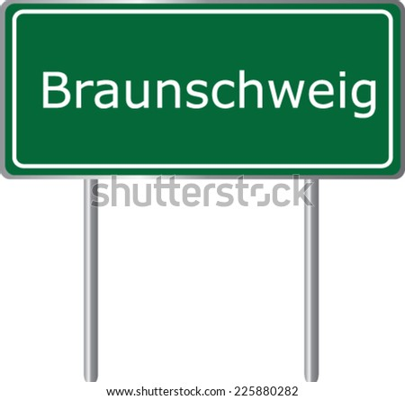 Braunschweig , Germany , road sign green vector illustration, road table - stock vector