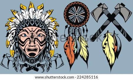 Brave  American Indian warrior head for mascot and  tattoo design elements - stock vector