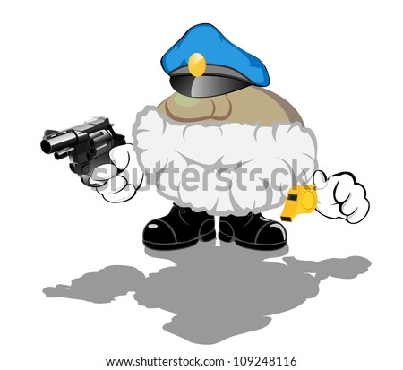 brave armed policeman whith whistle - stock vector