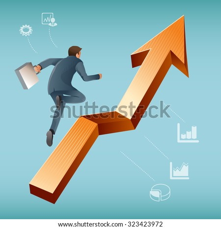 Brave Businessman jump over growing chart. The challenges of Economic system.