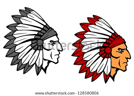 Brave indian warrior head for mascot or tattoo design. Jpeg version also available in gallery - stock vector
