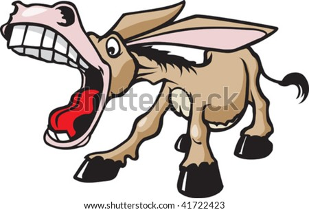 Braying Donkey - stock vector