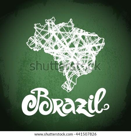 Brazil. Abstract vector chalkboard background - stock vector