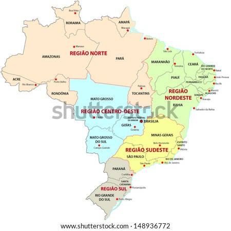 Brazil, administrative and territorial division  - stock vector