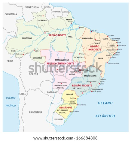 Brazil Administrative Map Stock Vector HD Royalty Free 166684808