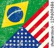 Brazil and USA grunge Flag. - stock vector