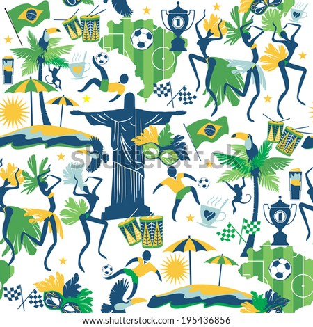 Brazil background. Seamless pattern - stock vector