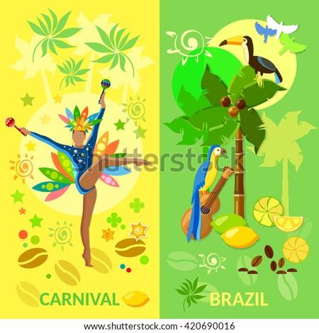 Brazil banners brazilian woman Carnival culture jungle vector illustration - stock vector