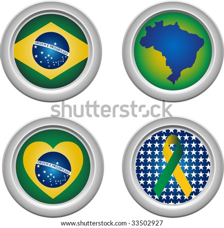 Brazil Buttons with ribbon, heart, map and flag - stock vector