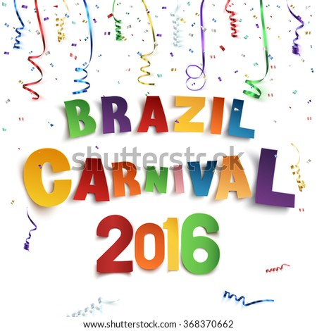 Brazil carnival background with confetti and colorful ribbons on white background. Vector illustration.