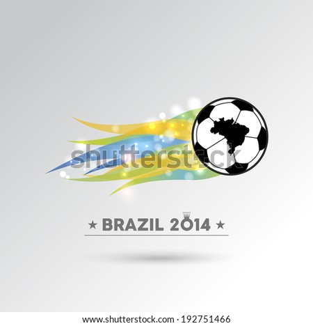 Brazil 2014 championship soccer ball in colors flames design element. EPS10 vector file with transparency layers. - stock vector