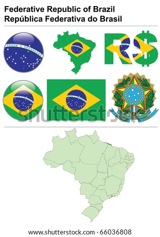 Brazil collection including flag, map (administrative division), symbol, currency unit & glossy button - stock vector