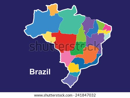 Brazil colorful map in blue background, brazil map vector, map vector - stock vector