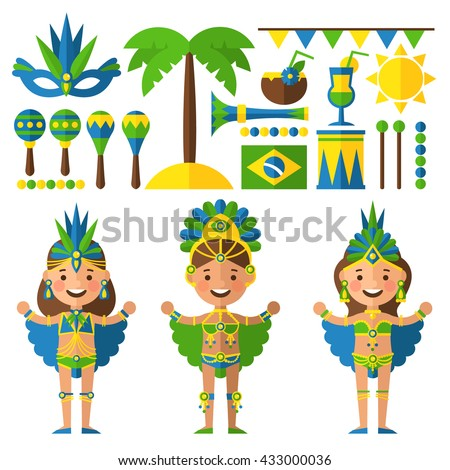 Brazil decorative icons set with carnival girl, palm trees. Set of characters and objects in a flat style. - stock vector
