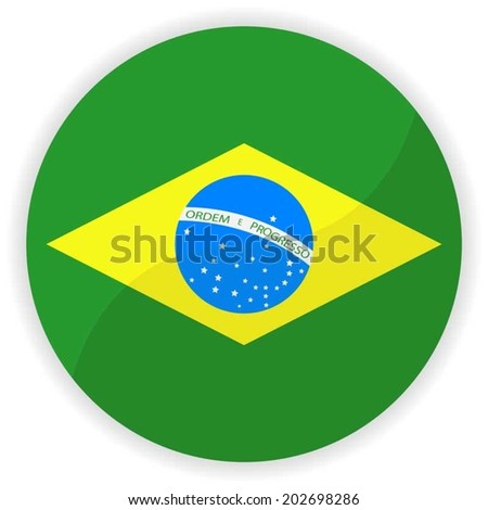 Brazil flag button  - stock vector