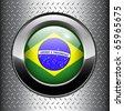 Brazil flag button on metal background, vector. - stock vector