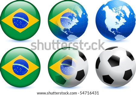 Brazil Flag Button with Global Soccer Event Original Illustration - stock vector