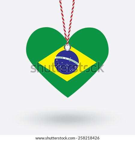 Brazil flag in the shape of a heart with hang tags - stock vector