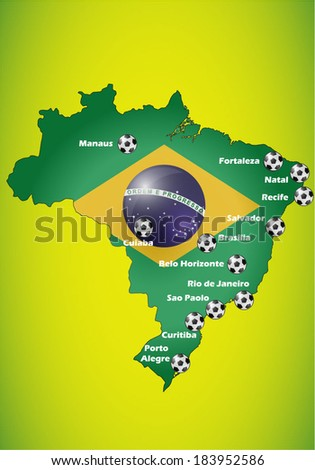 Brazil flag map background with host cities. - stock vector