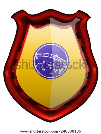 Brazil Flag on a Red framed Glossy Shield, Vector Illustration isolated on White Background.  - stock vector