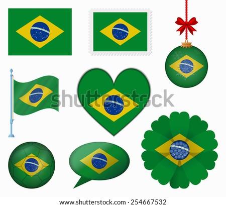 Brazil flag set of 8 items vector - stock vector
