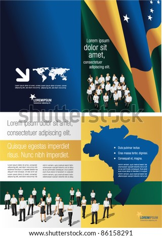 Brazil flag template for advertising brochure with people - stock vector