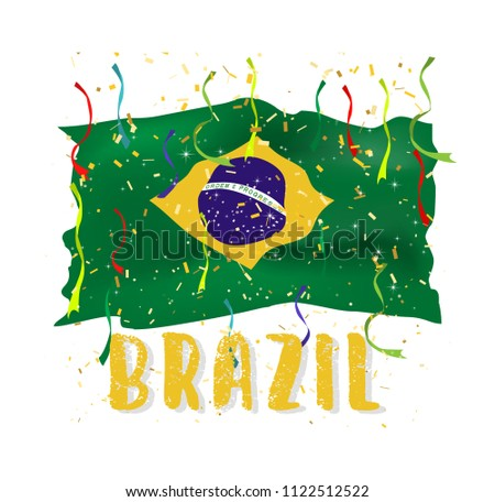 Brazil Flags Realistic Waving On Isolate Stock Vector 1122512522 Rh Shutterstock Com Confetti Clip Art Christmas Celebration