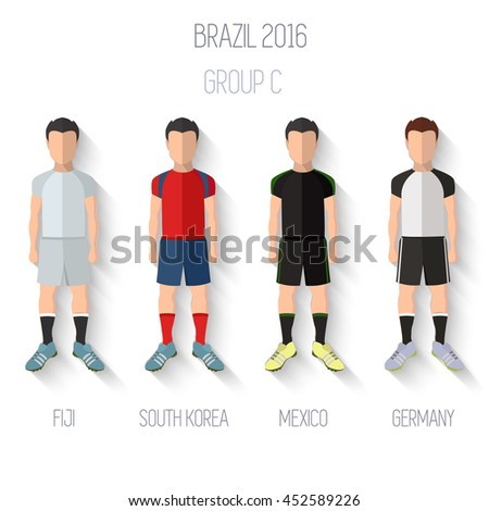 Brazil 2016 football Championship Infographic Qualified Soccer Players GROUP C. Football Game Flat People Icon.Soccer / Football team players. Group C -  Fiji, South Korea, Mexico, Germany.Vector. - stock vector