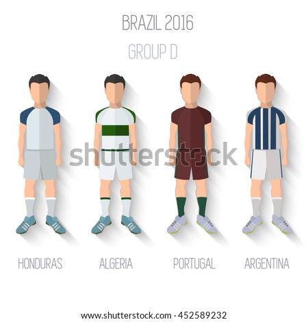 Brazil 2016 football Championship Infographic Qualified Soccer Players GROUP D. Football Game Flat People Icon.Soccer / Football team players. Group D -  Honduras, .Algeria, Portugal, Argentina.Vector - stock vector