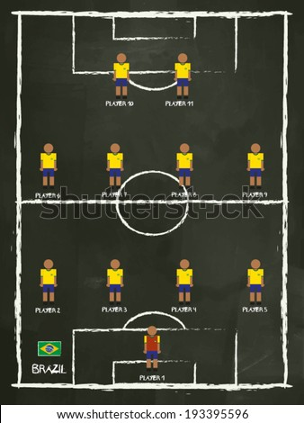 Brazil Football Club line-up on Pitch, vector design. - stock vector