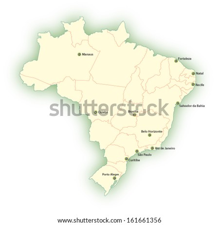 brazil football 2014 host cities map - stock vector