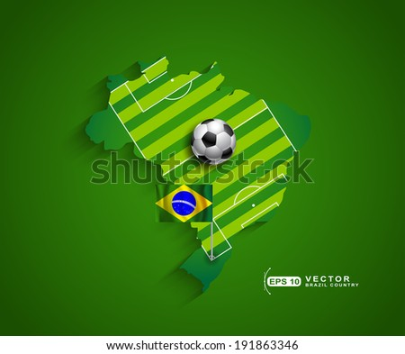 Brazil 2014 football soccer championship country host with football field and ball presentation - stock vector