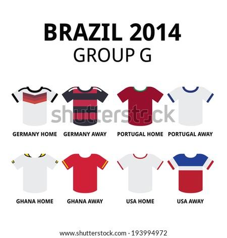 Brazil 2014 - group G teams football jerseys  - stock vector