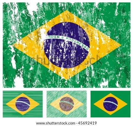 Brazil grunge flag set on a white background. Vector illustration. - stock vector
