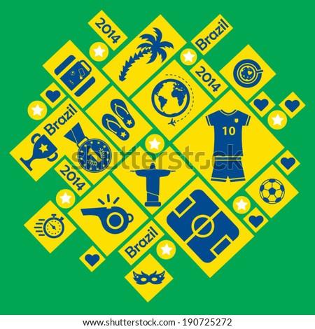 Brazil 2014 icons - stock vector