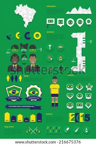 brazil infographic set - stock vector