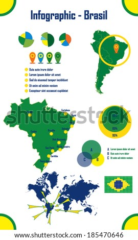 Brazil Infographics Elements - stock vector