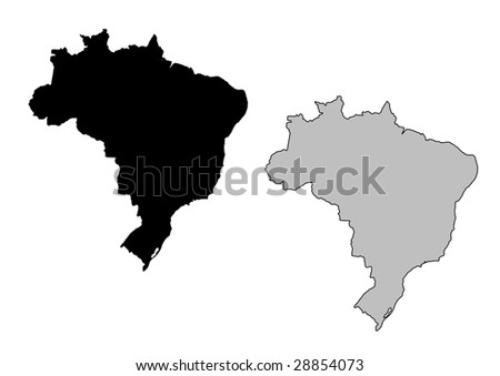 Brazil map. Black and white. Mercator projection. - stock vector