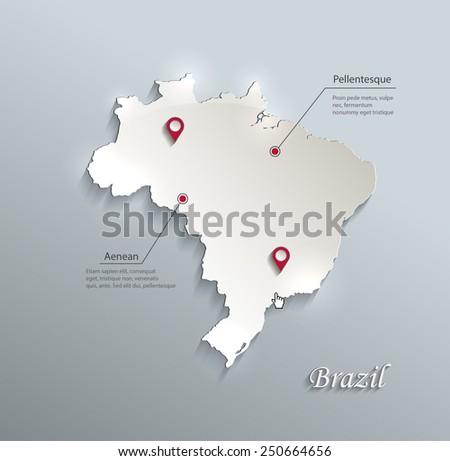 Brazil map blue white card paper 3D vector - stock vector