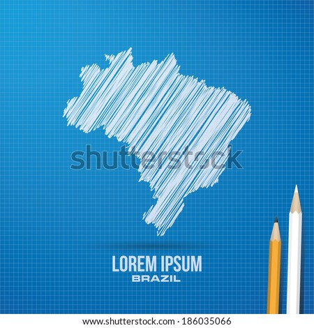 brazil map blueprint design in vector format - stock vector