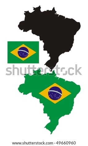 brazil map flag design - stock vector